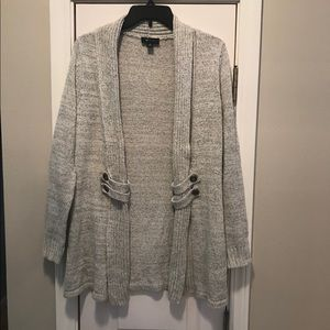 AB Studio Open Front Cardigan Gray Size M